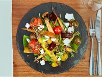 Roasted baby heirloom vegetable seasonal selection, artesian local goat's curd, mixed Australian seeds