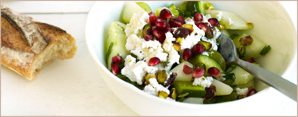 Cucumber, pistachio, grape and Persian feta salad recipe