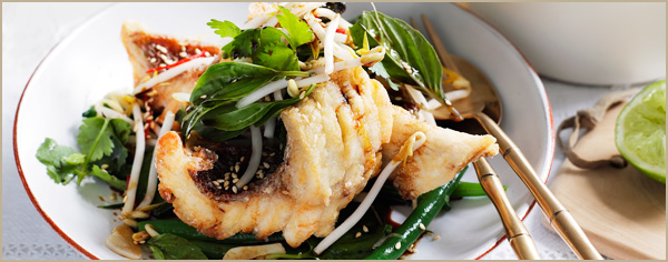 Crisp snapper and snake bean salad with Thai basil, soy and ginger recipe