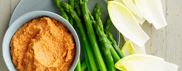 Romesco with asparagus & witlof